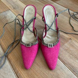 Vintage 90s DIOR Pink Wrap Tie Heels Galliano Era